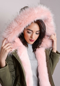 Pink Faux Fur Hooded Full Padded Parka Coat Khaki Green nolly (8 of 24)