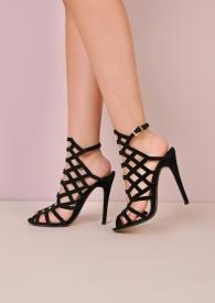 Caged Open Toe Faux Suede Stiletto Heels Black Rosielee 2