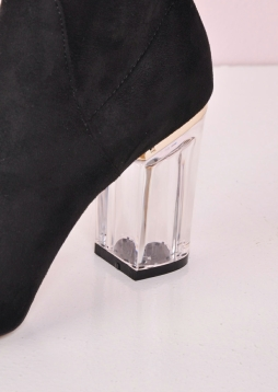 Clear Perspex Faux Suede Block Heel Ankle Boots Black nia (10 of 10)