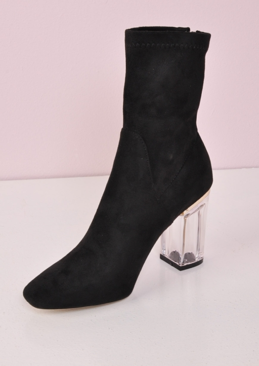 Clear Perspex Faux Suede Block Heel Ankle Boots Black nia (11 of 10)