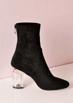 Clear Perspex Faux Suede Block Heel Ankle Boots Black nia (5 of 10)