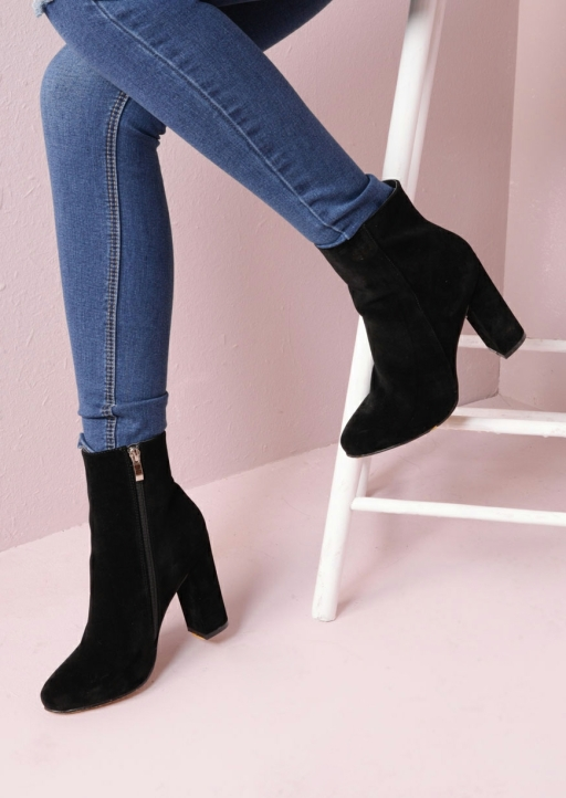 Faux Suede Chunky Heel Ankle Sock Boots Black Drune (5 of 4)