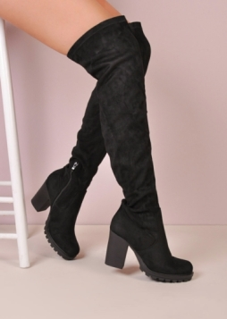 Over The Knee Cleated Sole Faux Suede Platform Long Boots Black Peony (6 of 6)