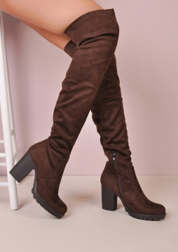 Over The Knee Cleated Sole Faux Suede Platform Long Boots Brown Peony (7 of 6)