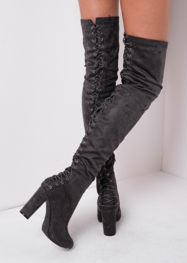 Over The Knee Faux Suede Lace Up Back Block Heel Long Boots Black Jamila (5 of 6)