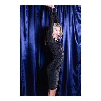 Plunge Neck Bodycon Glitter Ruched Dress Black jasmine (2 of 1)