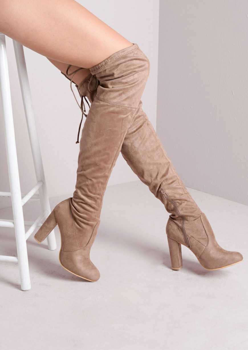 Thigh High Tie Back Faux Suede Heeled Boots Nude sasha (3 of 5 ...
