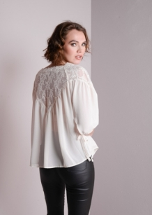 Lace Insert Off shoulder Top Blouse With Tie Detail 34 Sleeve Cream Eda 3