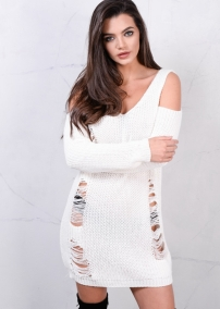 cold-shoulder-chunky-knit-long-sleeve-distressed-jumper-dress-cream-muriel-6702