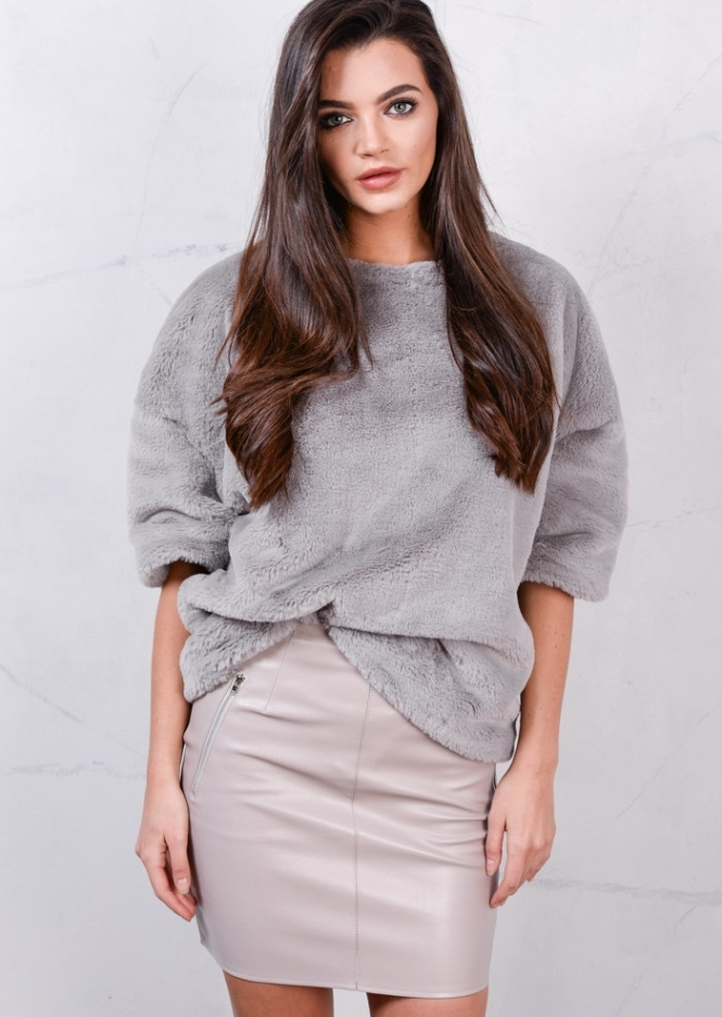 soft-faux-fur-short-sleeved-fluffy-top-grey-sissy-6802