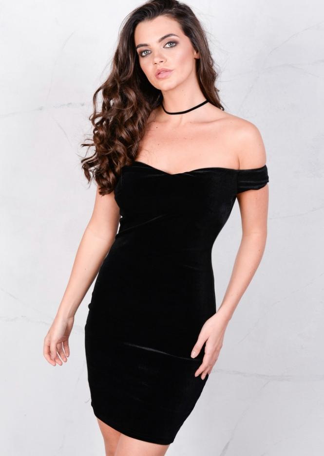 velvet-off-the-shoulder-sweetheart-mini-bodycon-black-dress-vivi-1-of-7