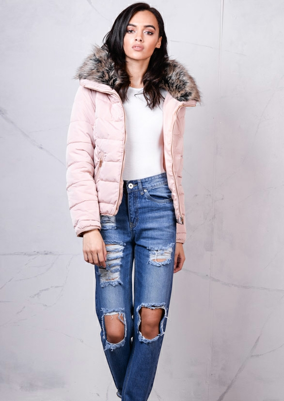 grey-faux-fur-collar-quilted-padded-puffer-jacket-coat-dusty-pink-1
